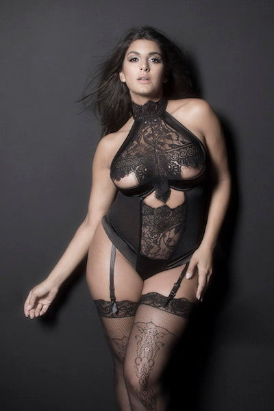 Lace teddy Louise - plus size teddy - CurvynBeautiful