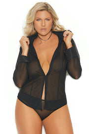 Long sleeve mesh shirt - Dress - CurvynBeautiful