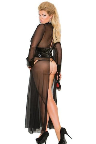 Mesh and vinyl long sleeve gown - Gown - Curvynbeautiful Plus size lingerie - 2
