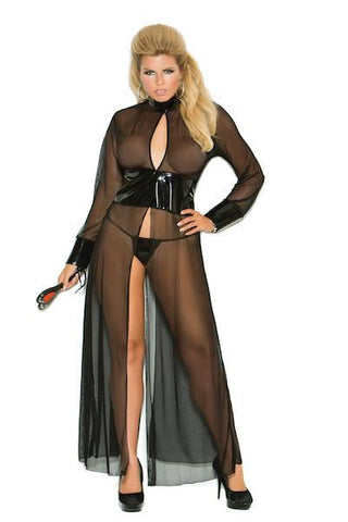 Mesh and vinyl long sleeve gown - Gown - Curvynbeautiful Plus size lingerie - 1