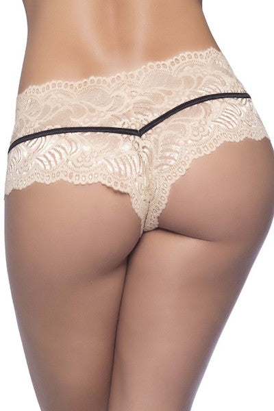 Soft lace boyshort nude