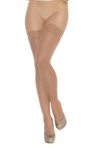 Sheer lace top thigh hi - plus size stocking - Curvynbeautiful Plus size lingerie - 1