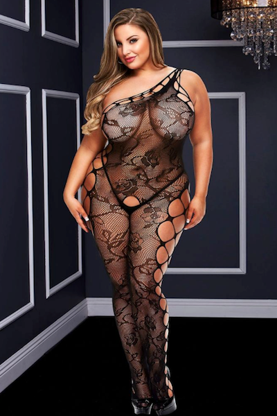 One shoulder bodystocking - Bodystocking - CurvynBeautiful