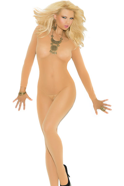 Opaque bodystocking nude