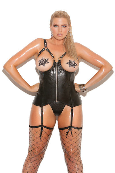 Open cup leather corset - plus size vinyl - CurvynBeautiful