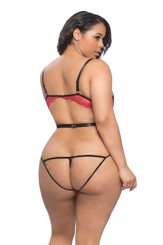 Open back crotchless teddy red-black