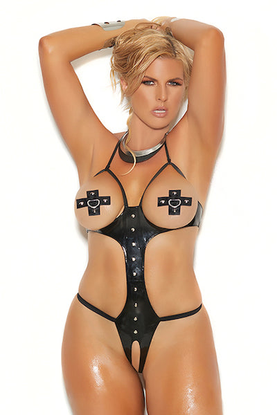 Vinyl peek-a-boo string teddy. - plus size teddy - CurvynBeautiful