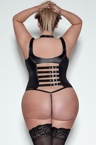 Cupless tank corset - plus size leather - CurvynBeautiful