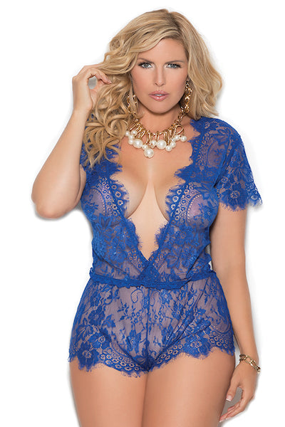 Eyelash lace short sleeve plunge romper - plus size teddy - CurvynBeautiful