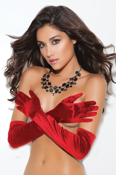 Satin gloves black,white or red
