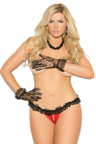 Satin and lace crotchless panty - plus size panty - CurvynBeautiful