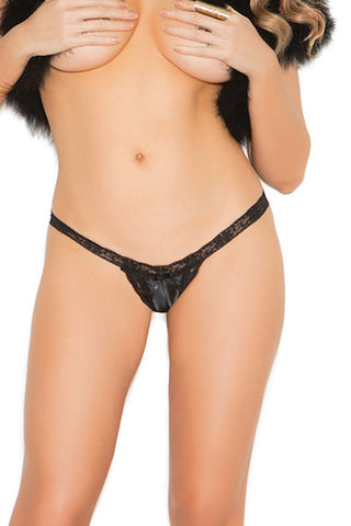 Satin and lace crotchless panty.