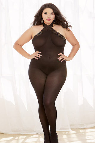 Semi-sheer halter bodystocking - Bodystocking - CurvynBeautiful