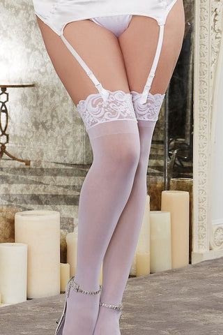 Sheer thigh high white - plus size stocking - Curvynbeautiful Plus size lingerie - 1