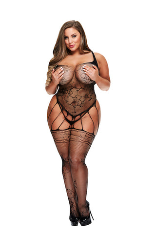 Strappy garter bodystocking