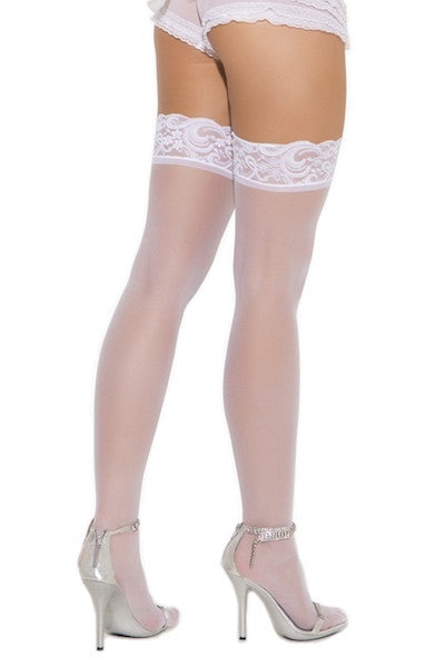 Sheer lace top thigh hi white - plus size stocking - CurvynBeautiful