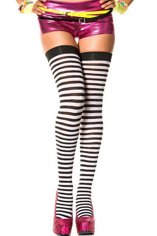 Opaque striped thigh hi