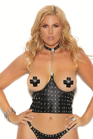 Leather cupless chain top