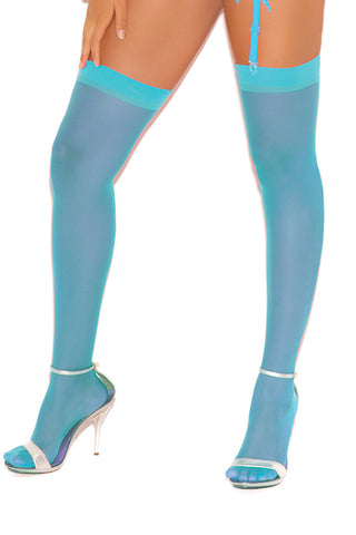 Sheer thigh hi  Turquoise - plus size stocking - CurvynBeautiful