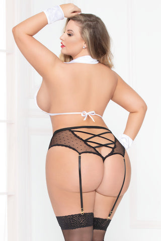 3 piece Tuxedo set - plus size panty - CurvynBeautiful