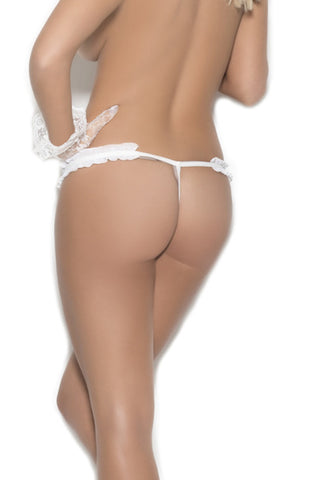 Chiffon and lace crotchless g-string