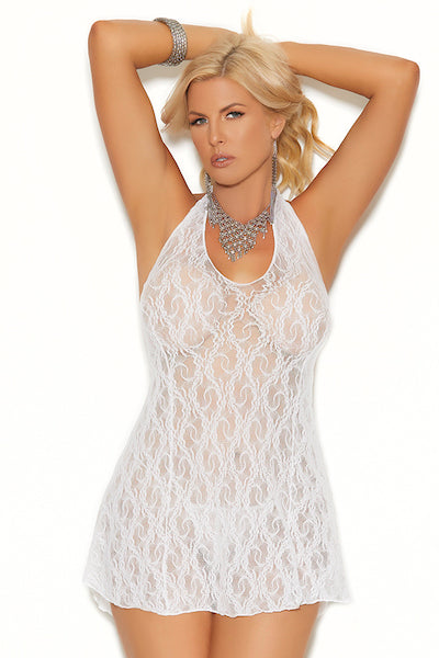 Lace halter mini dress - Dress - CurvynBeautiful