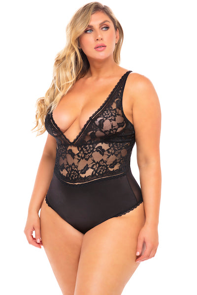 Soft floral lace teddy - plus size teddy - CurvynBeautiful
