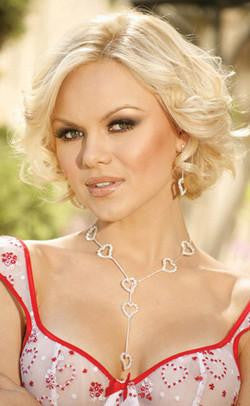 Rhinestone heart lariat. - Gloves-Jewels - Curvynbeautiful Plus size lingerie - 1
