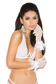 Mesh wrist length gloves - Gloves-Jewels - CurvynBeautiful