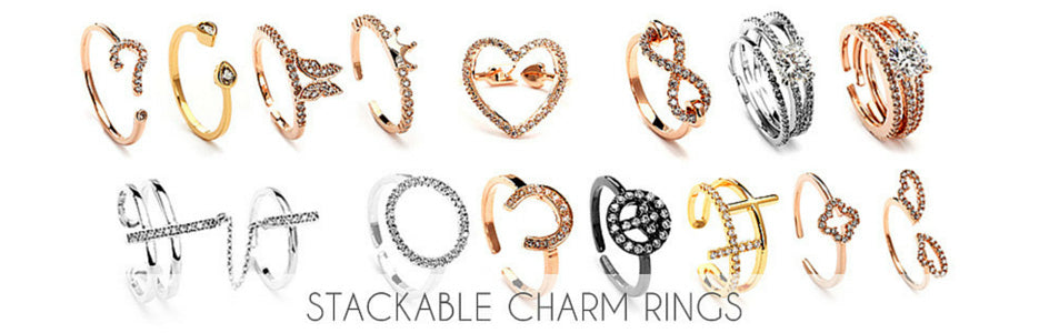 3 ways to wear the Stackable Charm Rings Trend