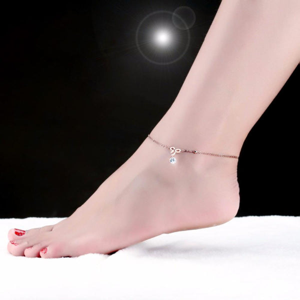 Elite Bow Solitaire Charm Anklet