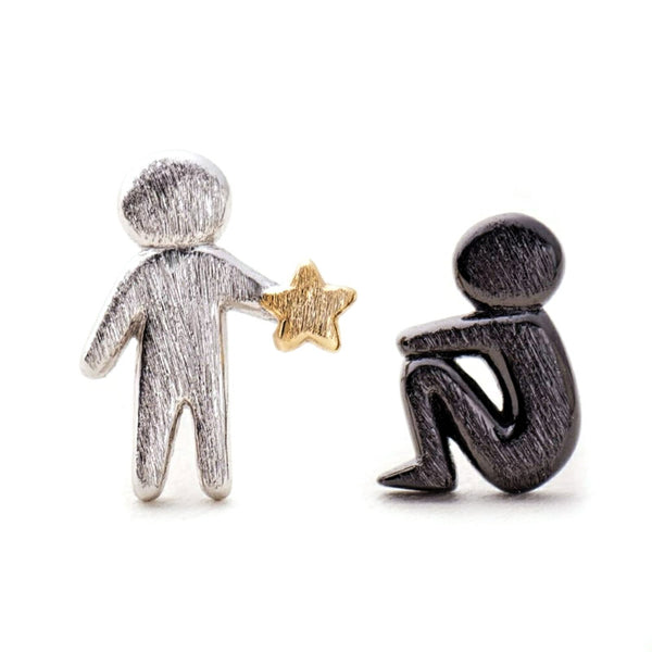 Will Pluck Stars In Your Dark Sterling Silver Studs