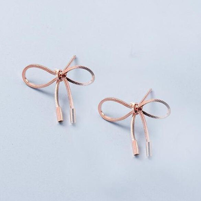 Luxe Bow Sterling Silver Minimal Studs