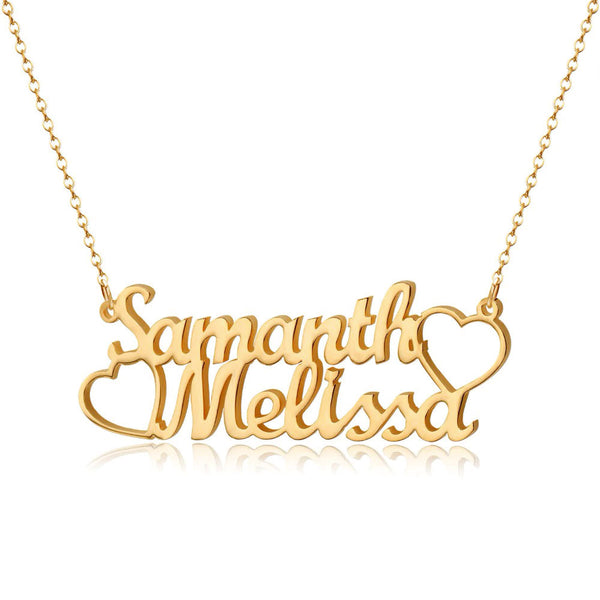 Personalize Couple Names & Hearts  Necklace
