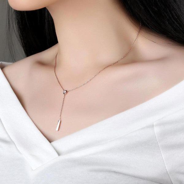 A Trickle by Solitaire Necklace-Blinglane