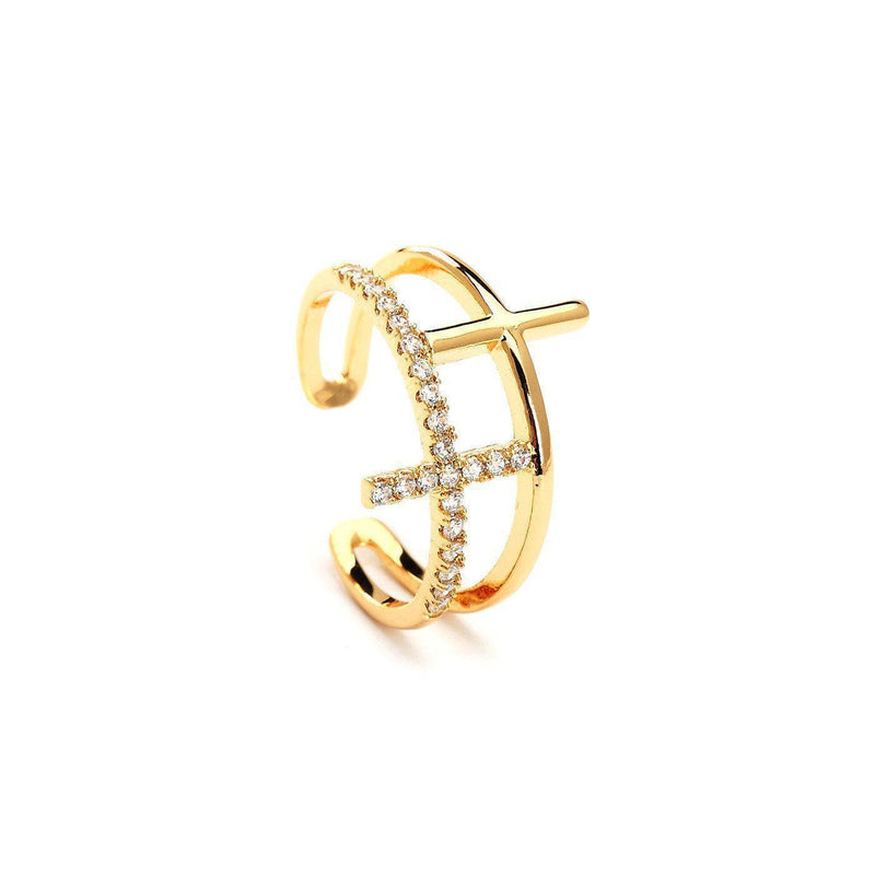Amelia Stackable Gold Plated Rings-Blinglane