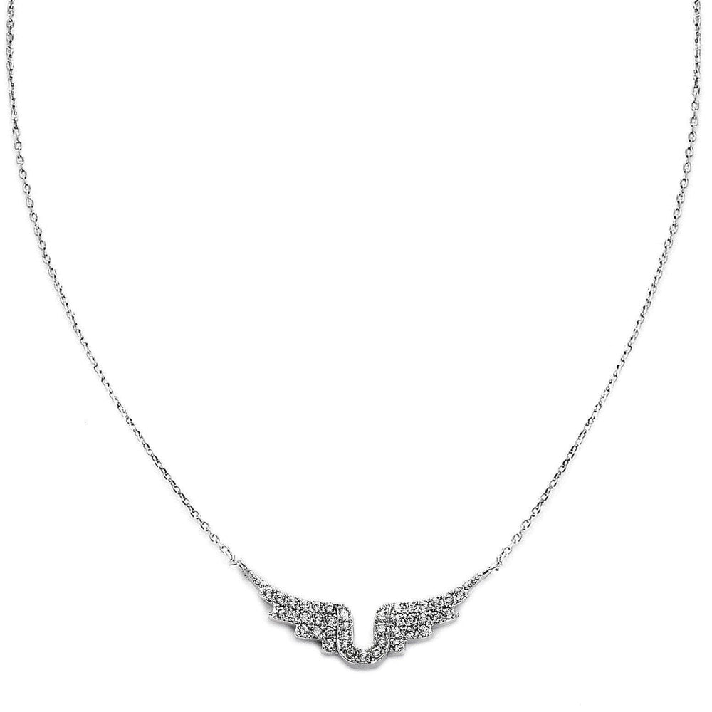 Angel Wings Silver Plated Necklace-Blinglane