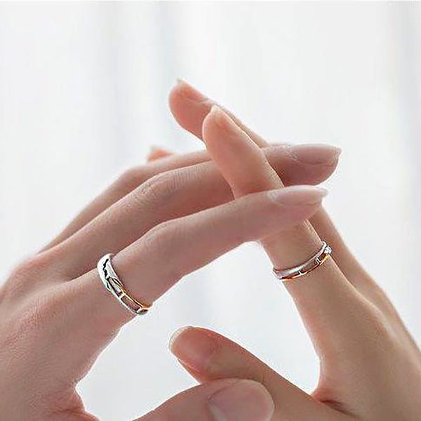Stay On Track Together Sterling Silver Love Bands