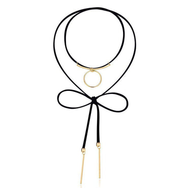 Audacious Ribbon Bow Layered Necklace-Blinglane
