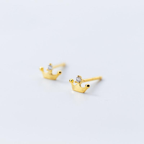 Be My Princess Sterling Silver Minimal Studs-Silver Earrings-Blinglane