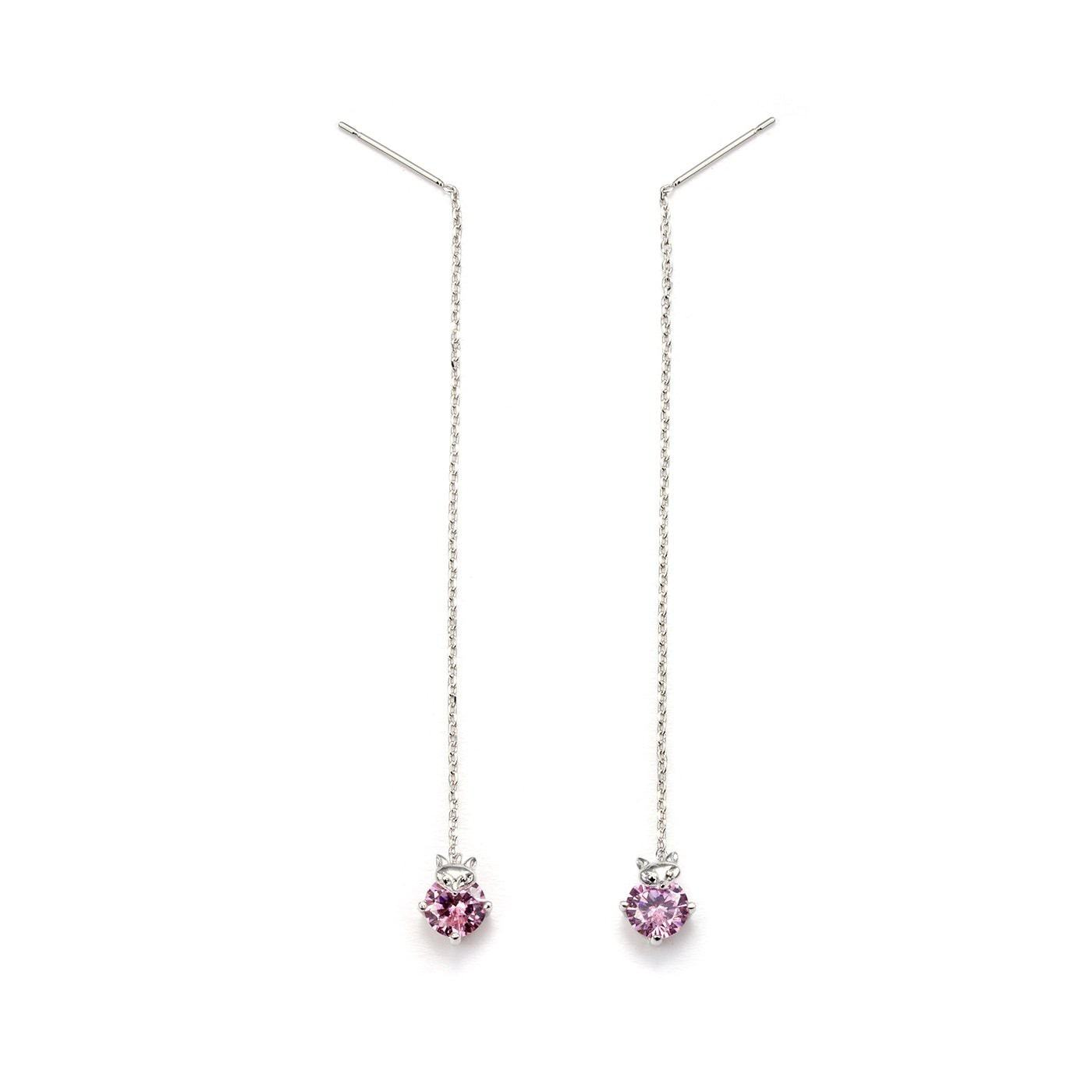Beautiful Lavender Solitaires Chain Earrings-Blinglane