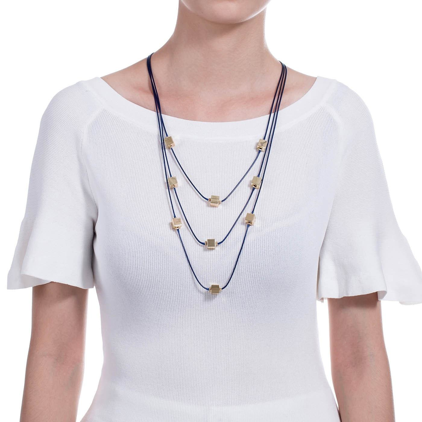 Blue Vibes Layered Fashion Necklace-Blinglane