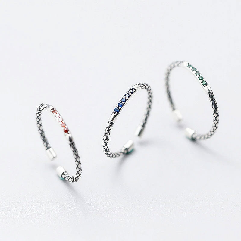 Dash of Color Sterling Silver Minimal Bands