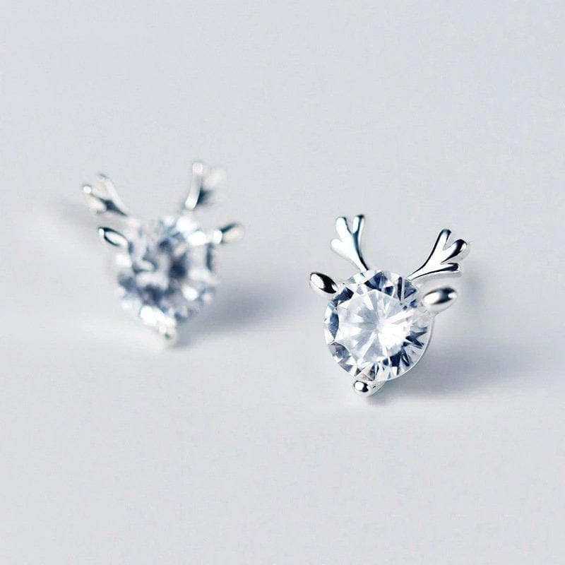 Antlers Sterling Silver Minimal Solitaire Studs
