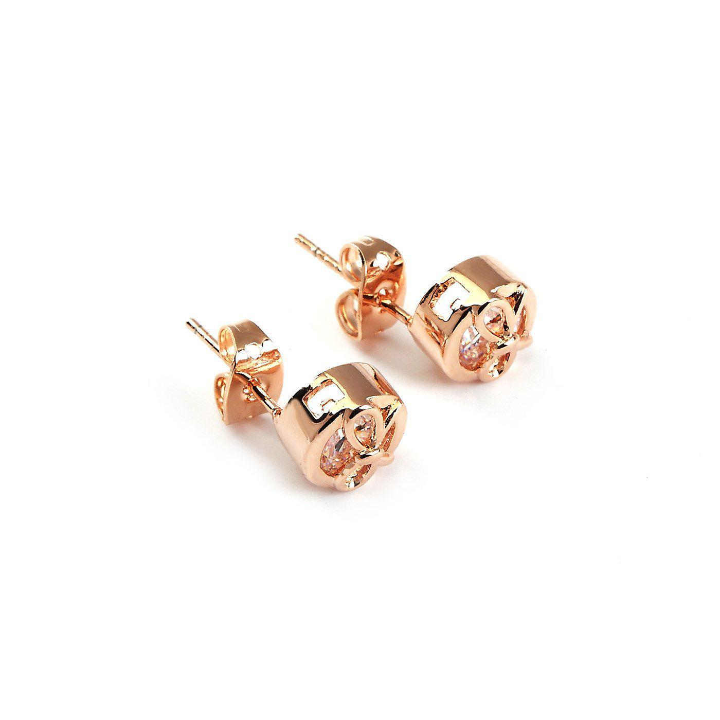 Elite Bow Solitaire Studs Earrings-Blinglane