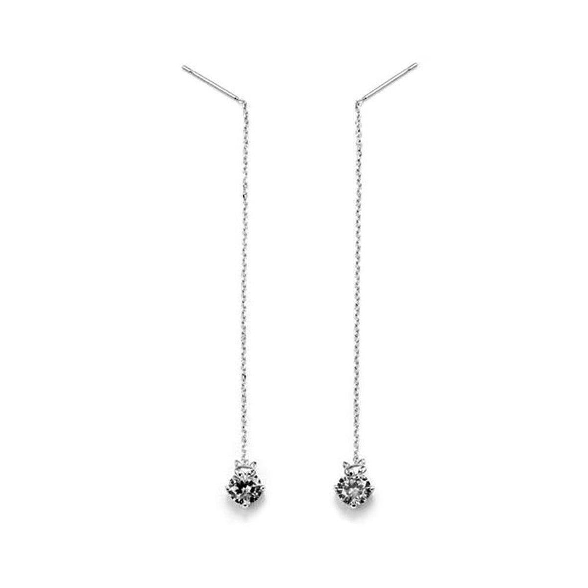 Elite Cz Solitaire Fox Earrings-Blinglane