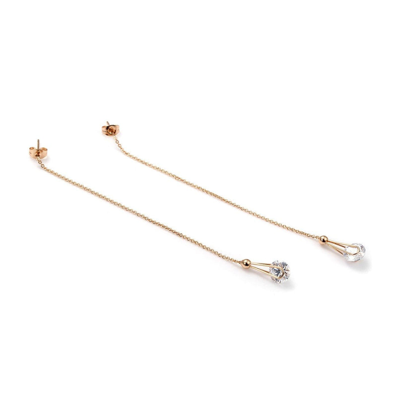 Elite Hanging Solitaires Chain Earrings-Blinglane