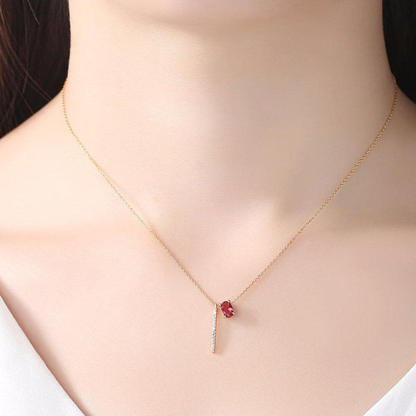 Elite Ruby Bar Charms Necklace-Blinglane