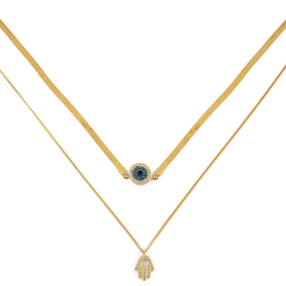 Exclusive Evil Eye & Hamsa Layered Choker Necklace-Blinglane
