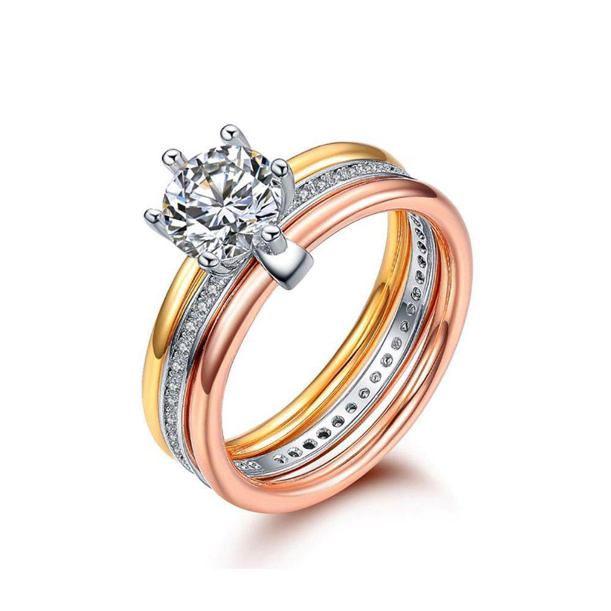 Exclusive Tri-Band Solitaire Ring-Blinglane